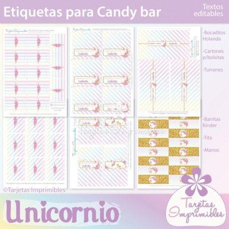 Decoraciones imprimibles para cumpleaños de unicornios. En colores ...