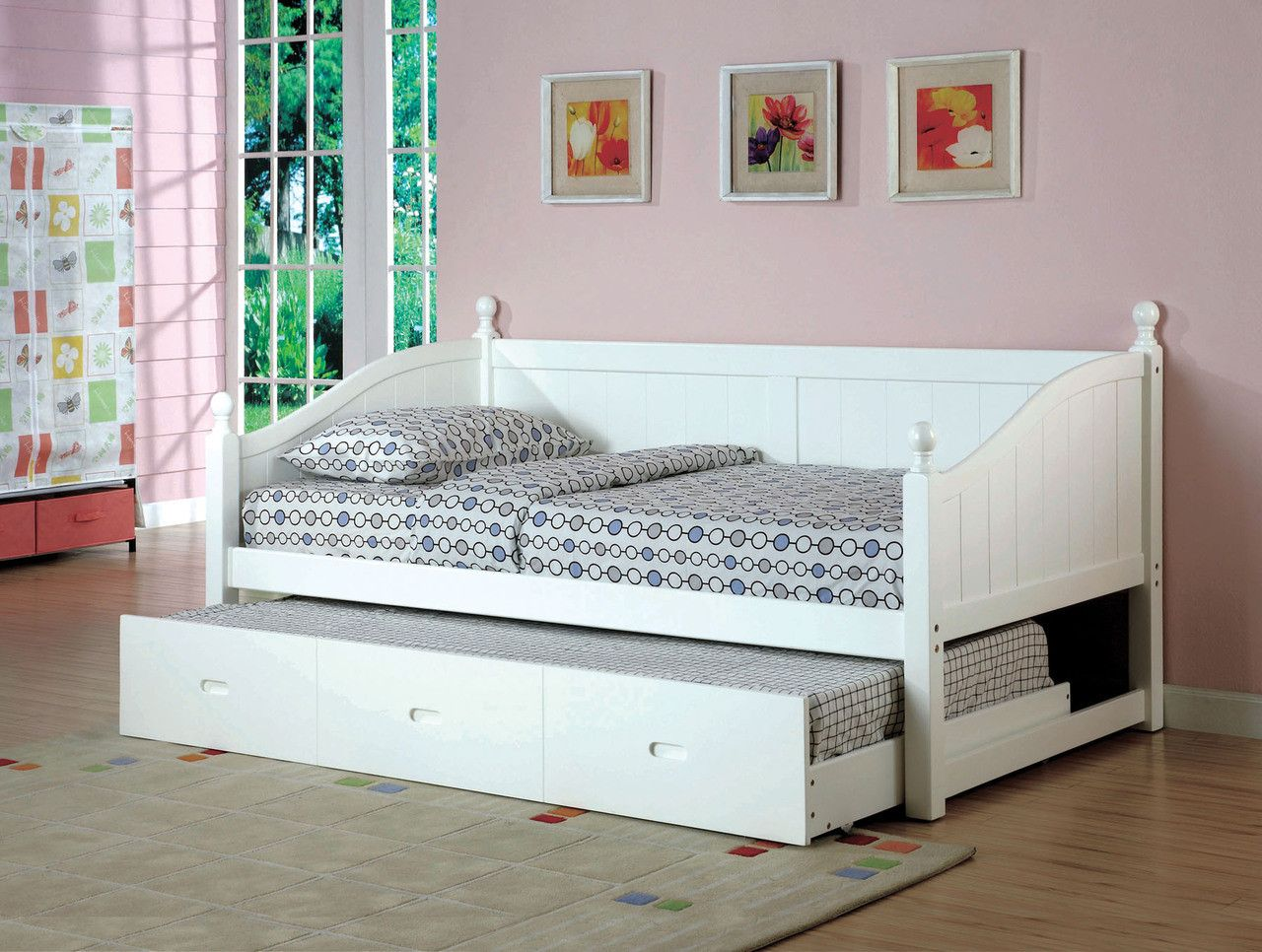 Furniture Of America Daybed W Twin Trundle In White Cm1929wh