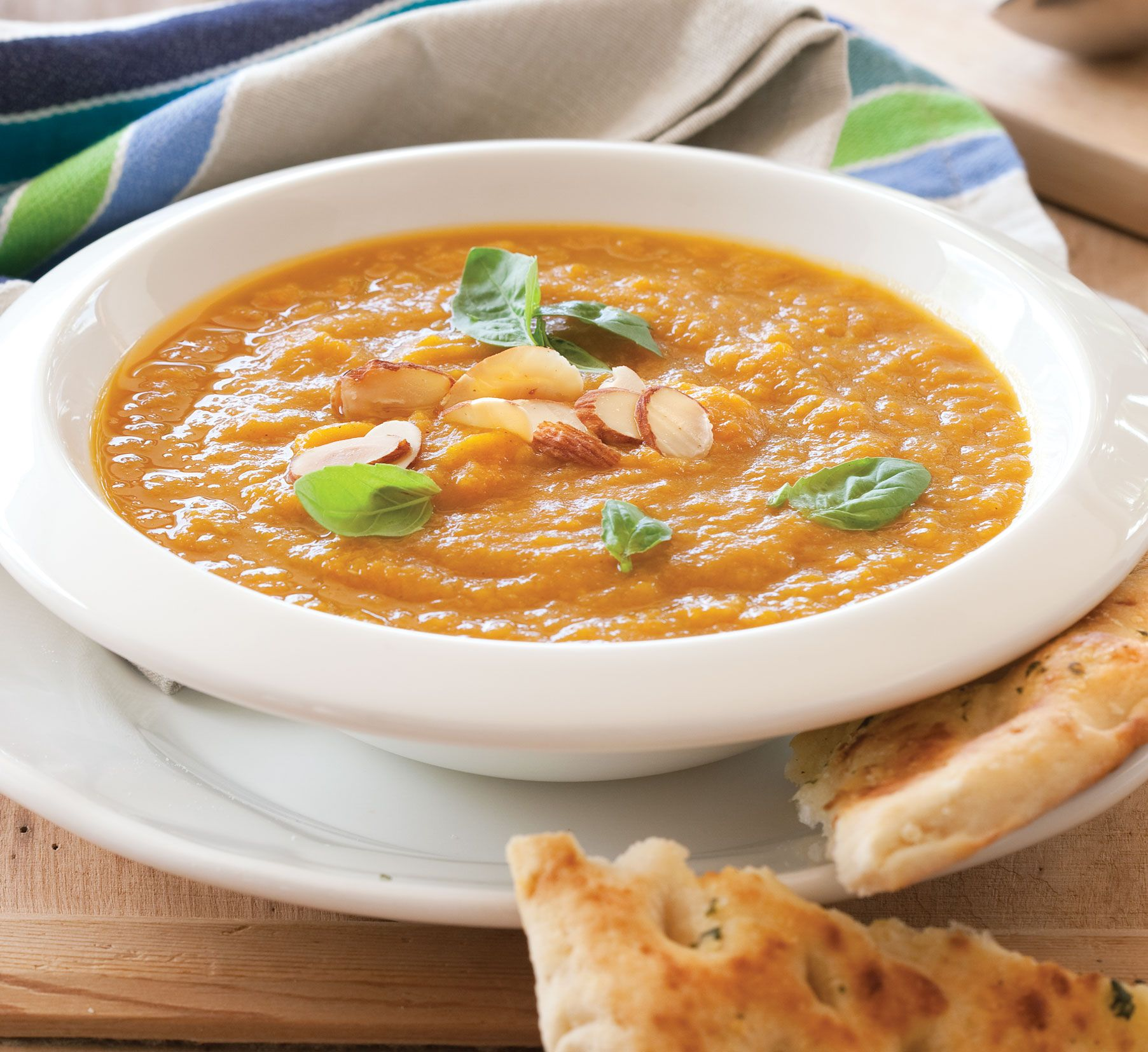Carrot and caraway soup with toasted almonds recipe