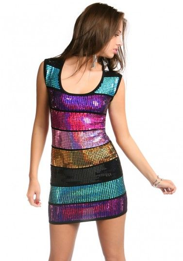 Rainbow Sequined Party Dress | Hottie World