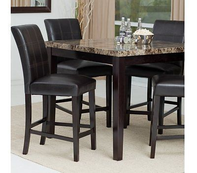 5 Pc Counter Height Dining Set Espresso Wood Dinette Furniture 4 Stools Marble Go Sh Kitchen Table Settings Counter Height Dining Table Set High Dining Table