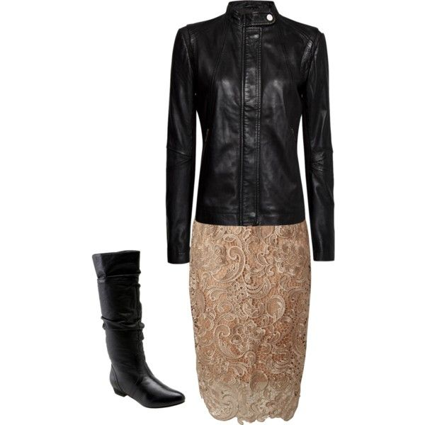 """""""Leather and Lace"""" by mblomfelt on Polyvore"""