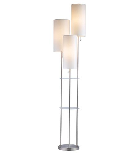 3 Light Floor Lamp Custom Adesso 430522 Trio 68 Inch 40 Watt Satin Steel Floor Lamp Portable Inspiration