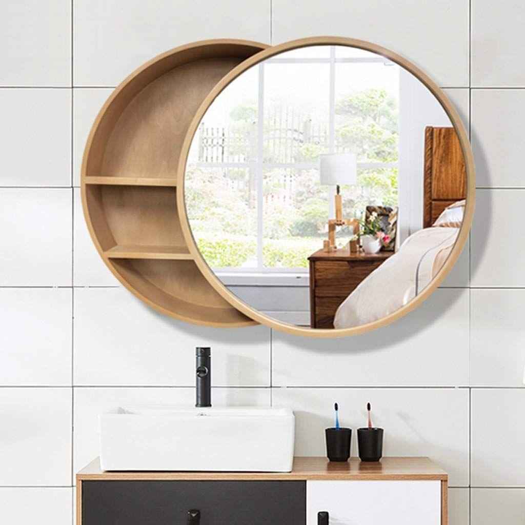 Wall Mounted Round Mirror Bathroom Storage Mirror Cabinet Bathroom Vanity Mirror With Shel Round Mirror Bathroom Bathroom Mirror Wall Mounted Bathroom Cabinets [ 1024 x 1024 Pixel ]