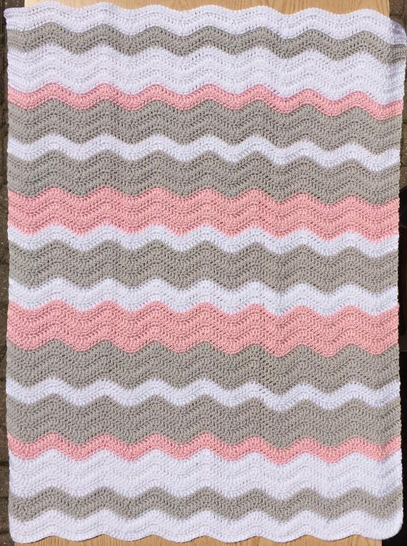 Pink, Gray and White Ripple Baby Blanket/ Chevron Baby Blanket ...
