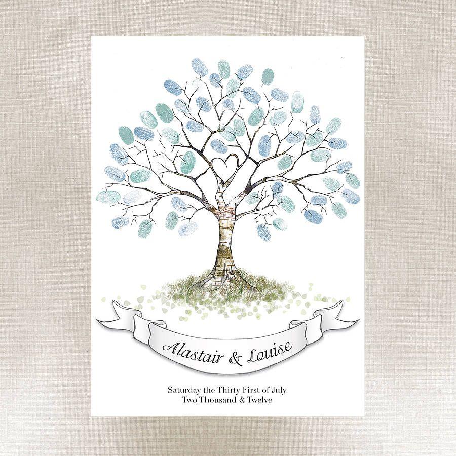 thumbprint tree Alternative Wedding Guest Book Rustic Wedding Fingerprint Tree Twin Aspen Tree unique guest book Wedding Guestbook