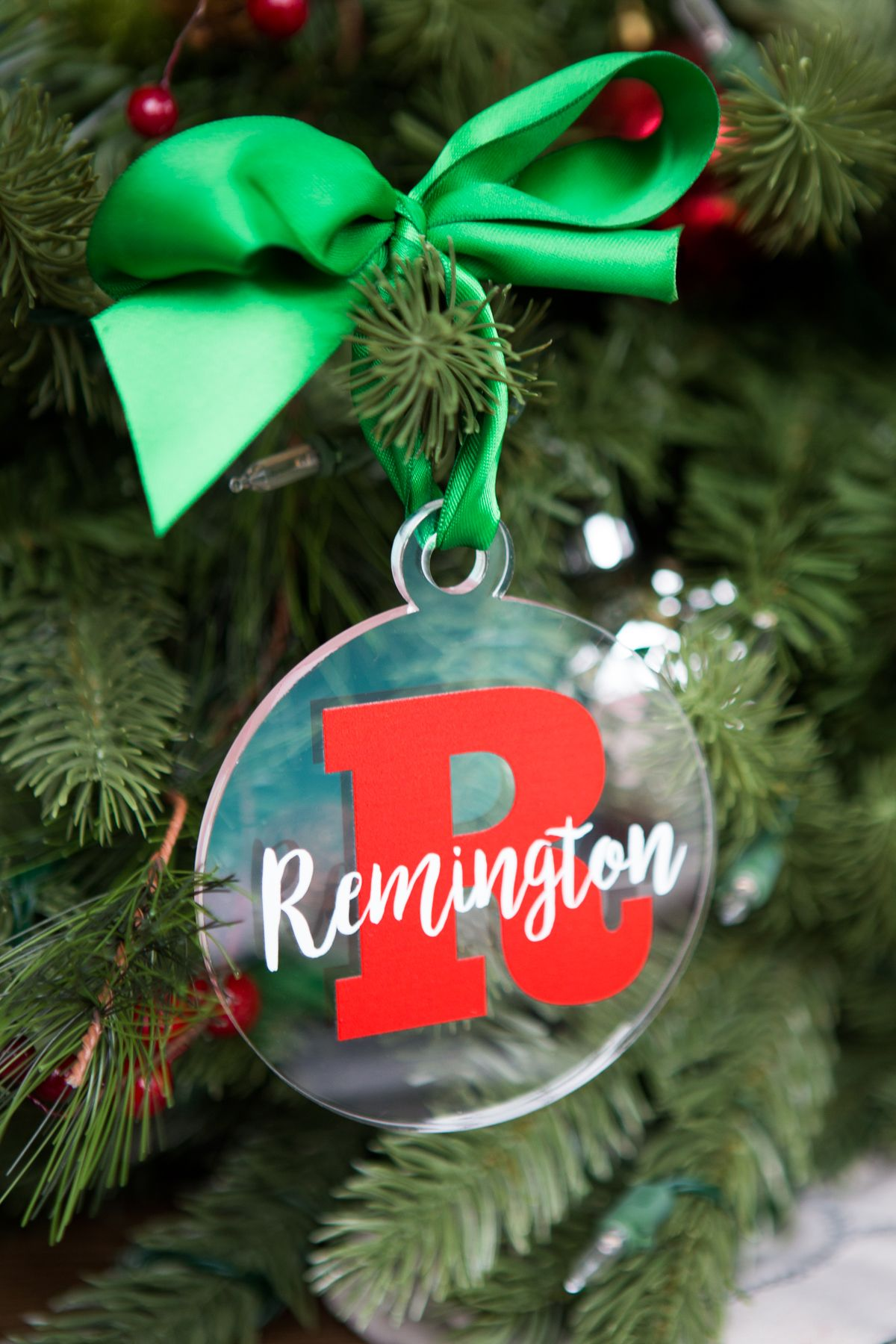 Christmas Ornament Personalized Name And Letter Clear Acrylic Etsy Christmas Ornaments Personalized Christmas Ornaments Christmas Tree Ornaments