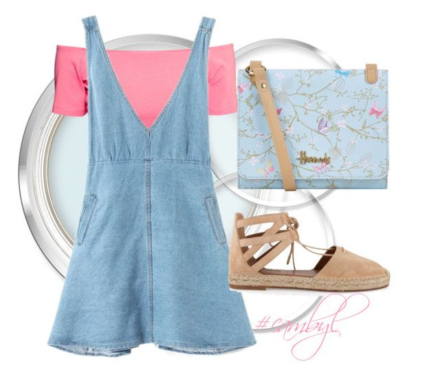 """""""Summer Fashion 110"""" by creativealonemoments ❤ liked on Polyvore featuring H&M, Harrods, Aquazzura, overalls and cambyl"""