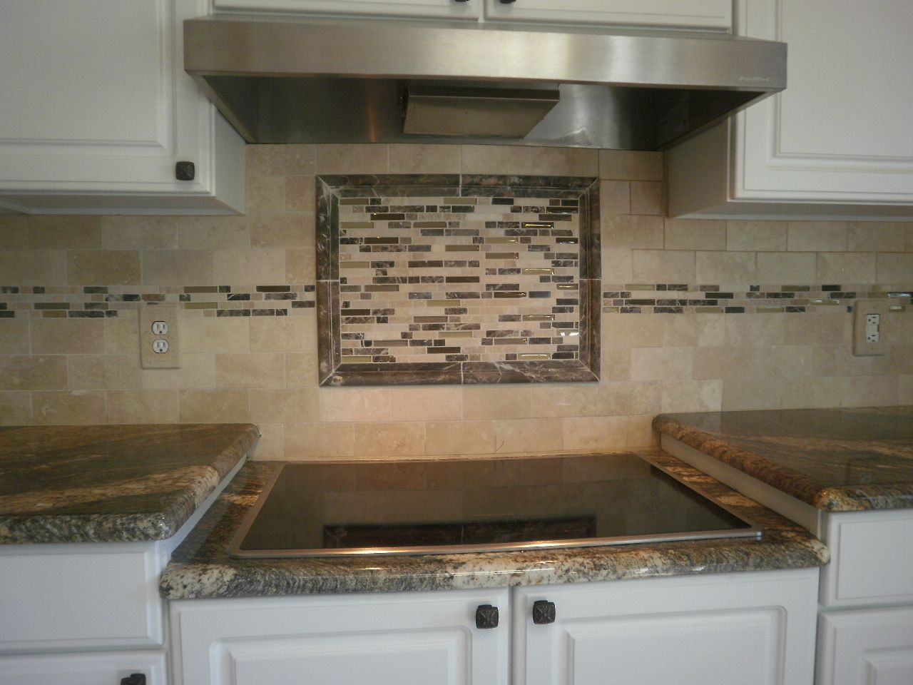 Porcelain Tile Kitchen Backsplash Travertine With Inlaid Rectangular Mosaic Tiles At Destefano