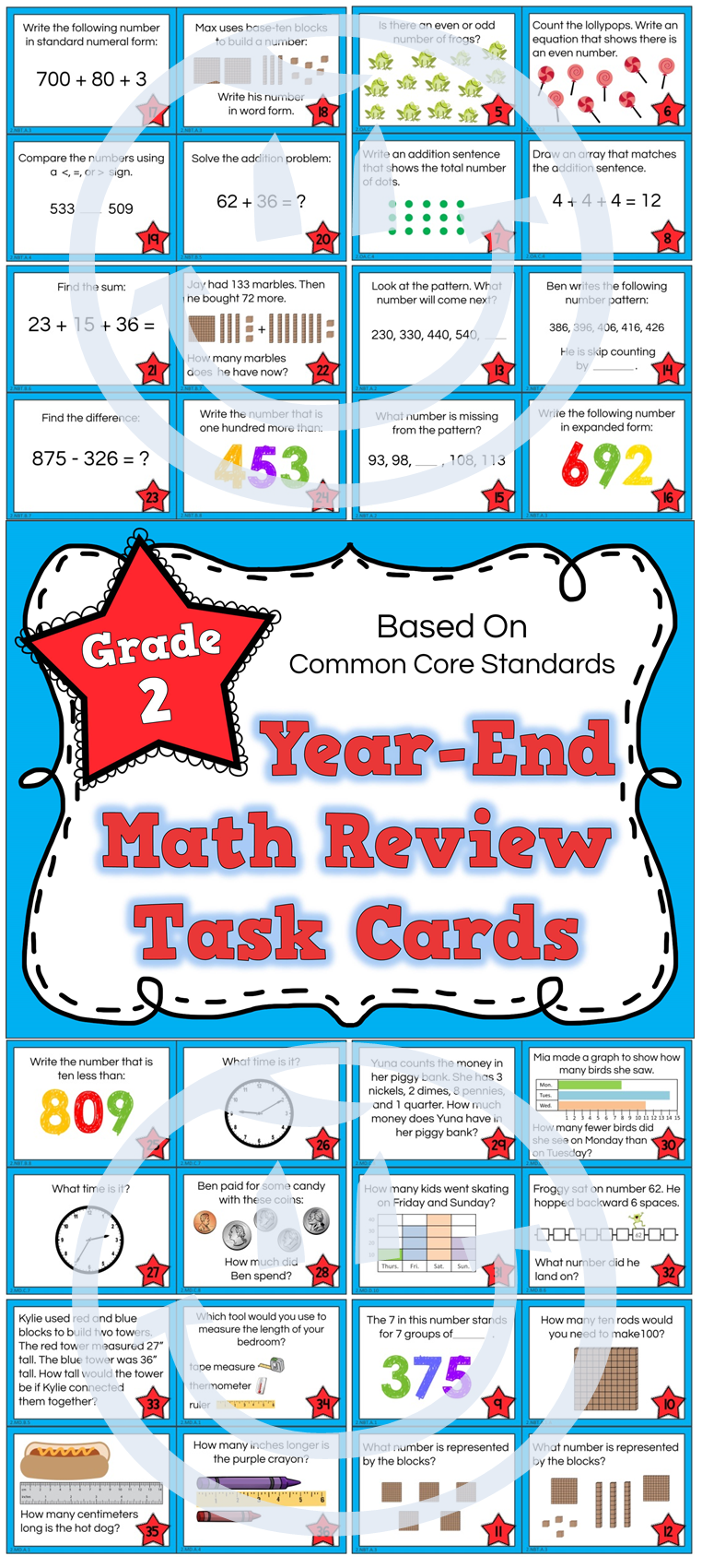 Grade 2 Math Task Cards ALL STANDARDS | Common core math standards ...