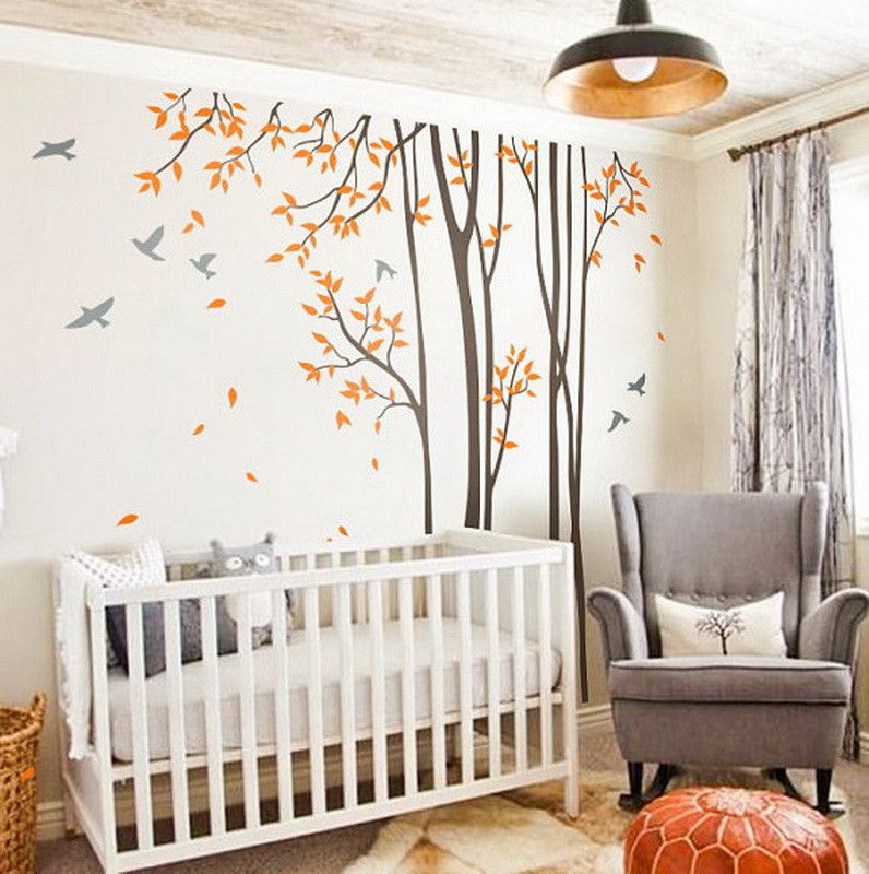 Huge Birds Trees Forest Wall Arts Nursery Kids Decals Baby Decor - Bambi love tree wall decals
