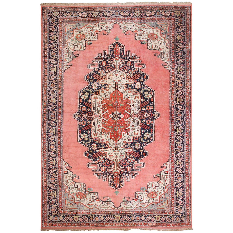 Large Luxurious Vintage Persian Silk Heriz Rug Size 13 Ft 1 In X 19 Ft In 2020 Heriz Rugs Vintage Persian Rug Silk Persian Rugs