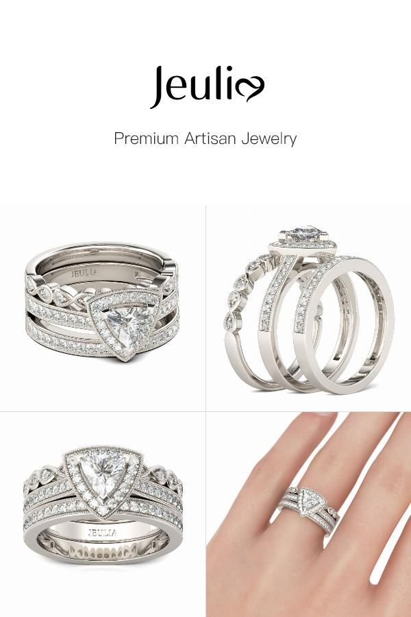 Check this out from jeulia! Jeulia  Infinity Halo Trillion Cut Sterling Silver 3PC Ring Set