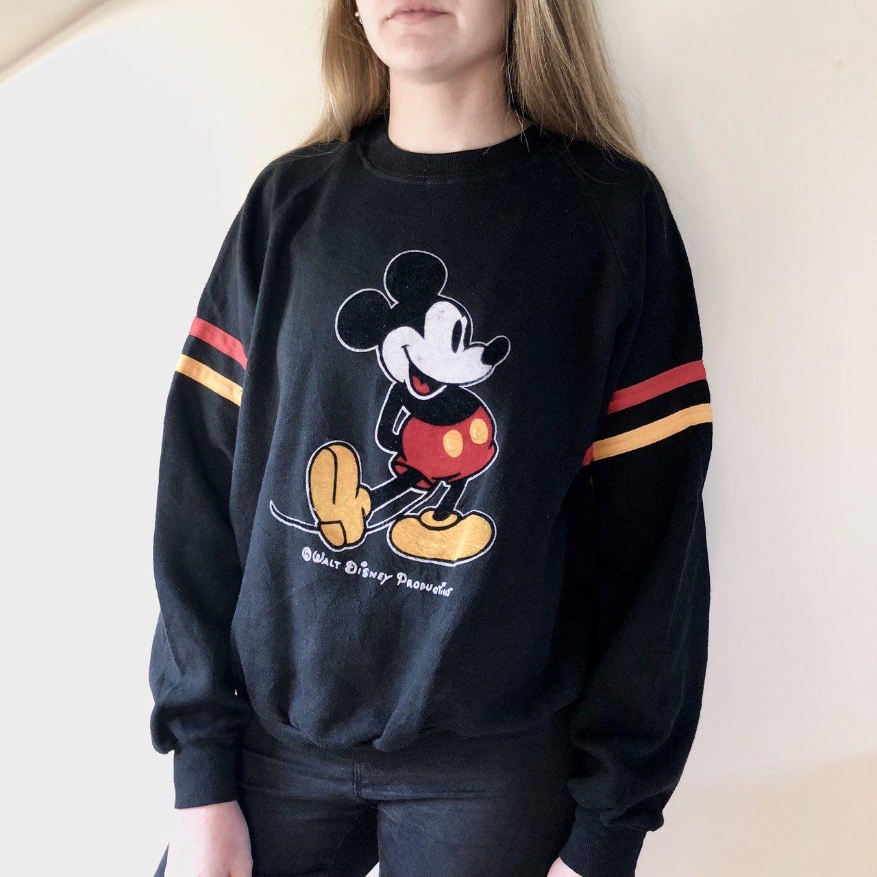 42296463a2b3 Properly retro black 80s - 90s Walt Disney sweatshirt, felt - Depop