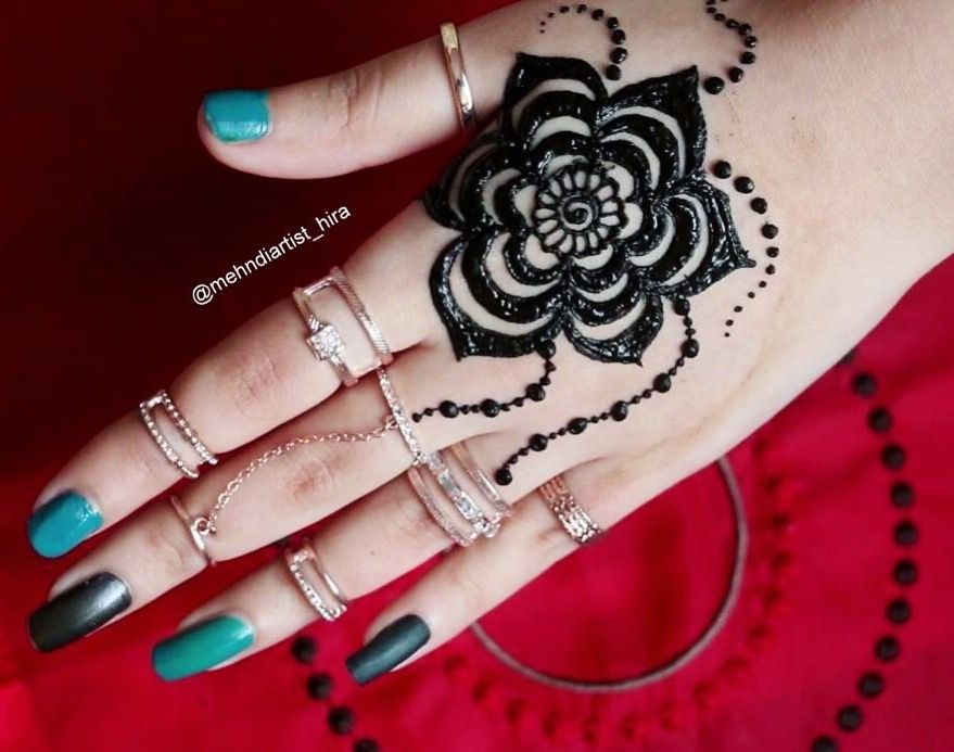 Inai Party Mehndi Red Cone : Dot simple mehndi design easy for beginners