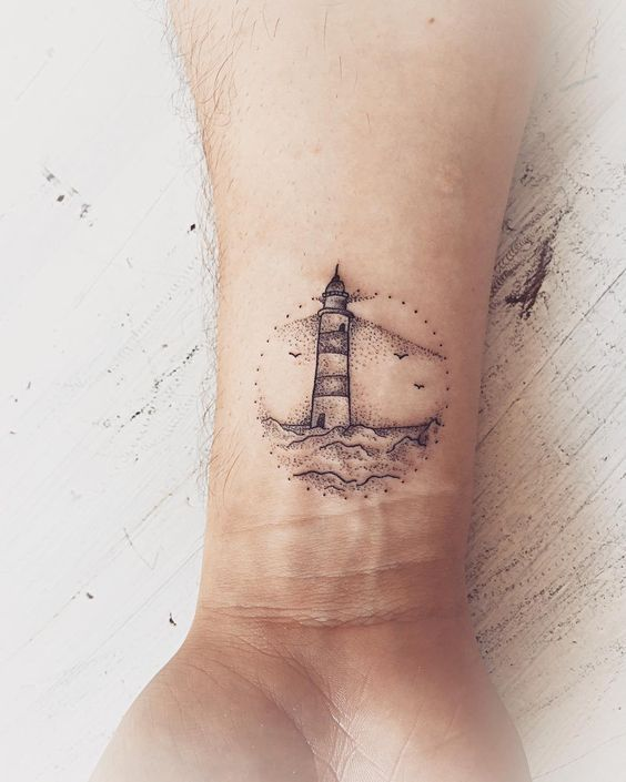 "Perigee Moon Body Art Gallery auf Instagram: ""Lil Leuchtturm"". . . . Von: @caity_rose_tattoos #illustrationtattoo #stippletattoo #lighthousetattoo #nauticaltattoo ""  Tattoos that I like #tattoostyle - tattoo style"