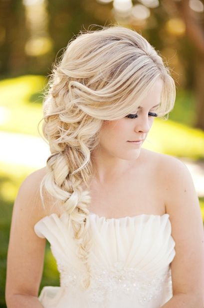 Messy Side Braid With Big Fringe Bride Hairstyles Long Bridal