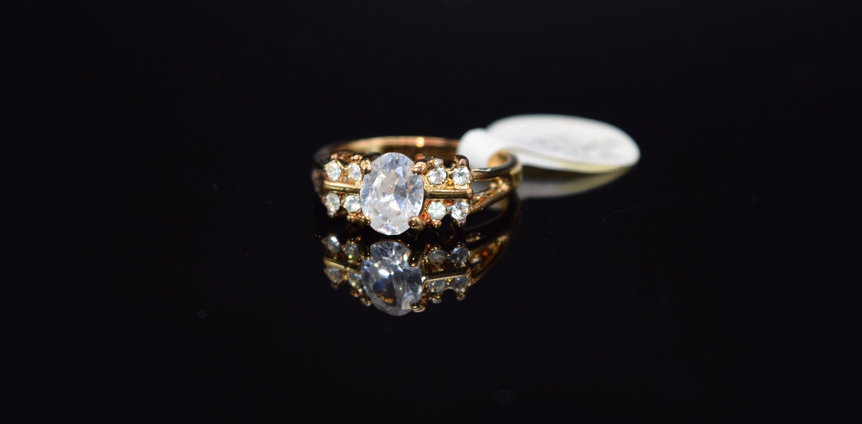 14k Gep Cubic Zirconia Engagement Ring Gold Cubic Zirconia Ring Size 8 Ring Cubic Zirconia Engagement Rings Engagement Rings Vintage Engagement Rings