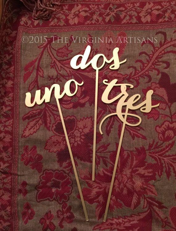 Wedding Table Numbers - Set of 1-25 - Spanish - Español- Numeros de Mesa - Gold - Silver - DIY - Elegance Line