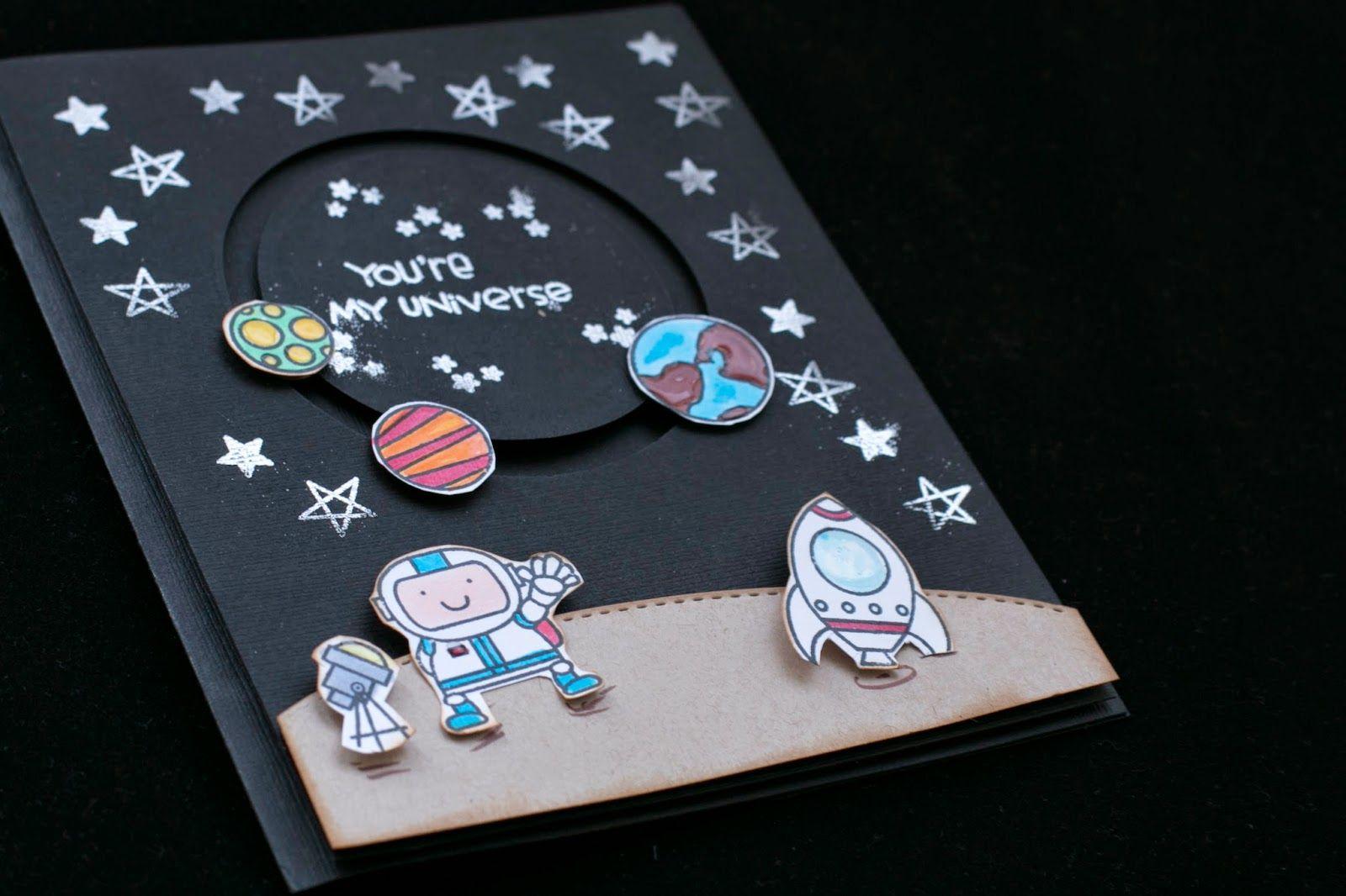 Днем рождения, открытка день космонавтики скрапбукинг