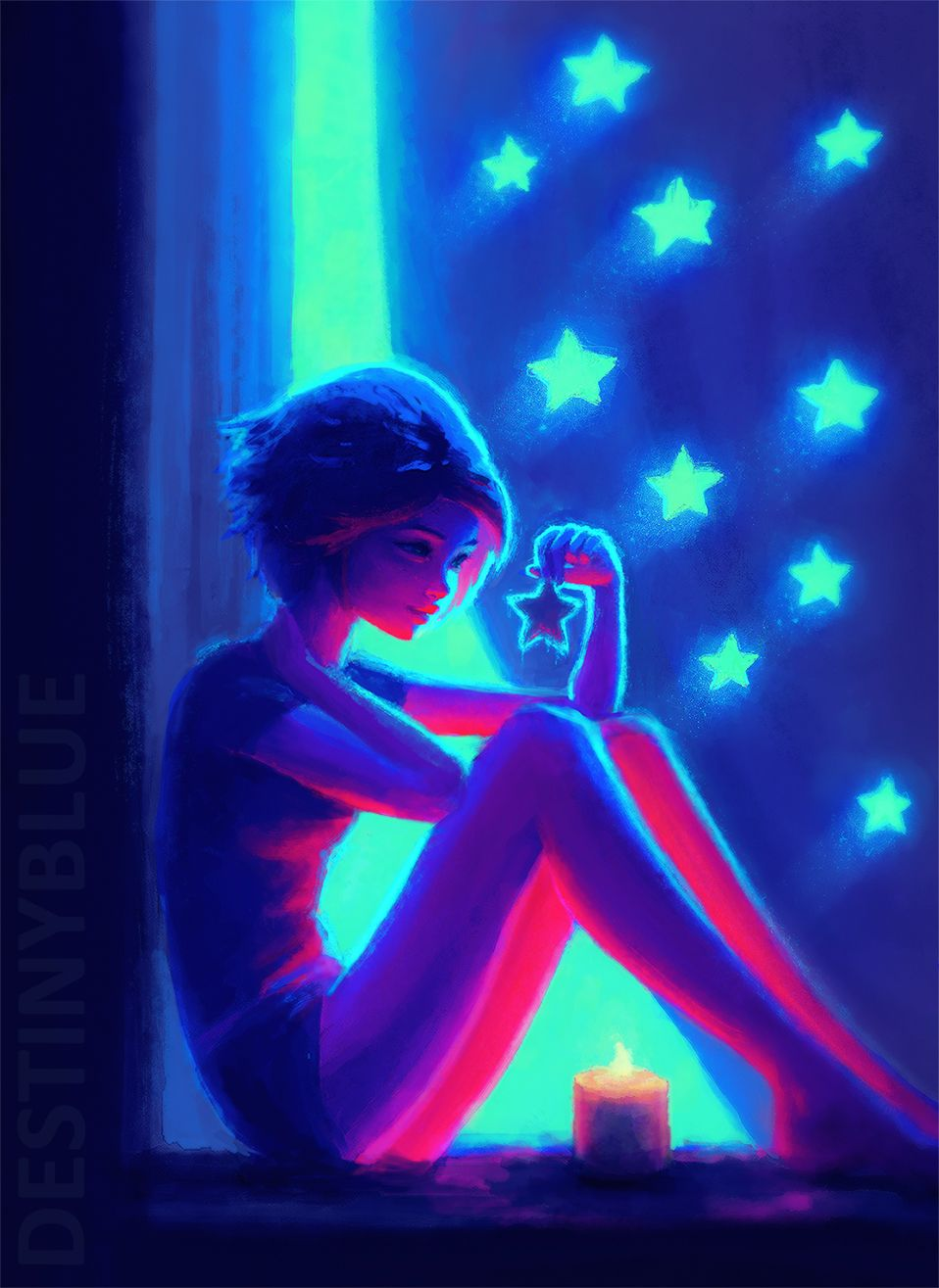 Night maker by destinyblue destinyblue on for Black light mural