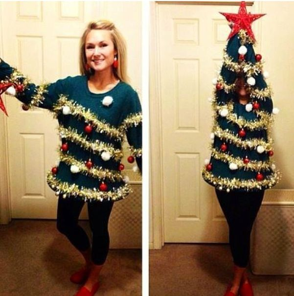 15 do it yourself ugly christmas sweaters christmas tree sweater tacky christmas sweater party idea use a hula hoop in the bottom sparkly garland and ornaments from the dollar store i might just be using this for an solutioingenieria
