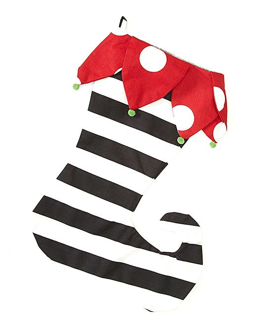 Black White Stripe Elf Stocking Elf Stocking Black White Stripes Black And White