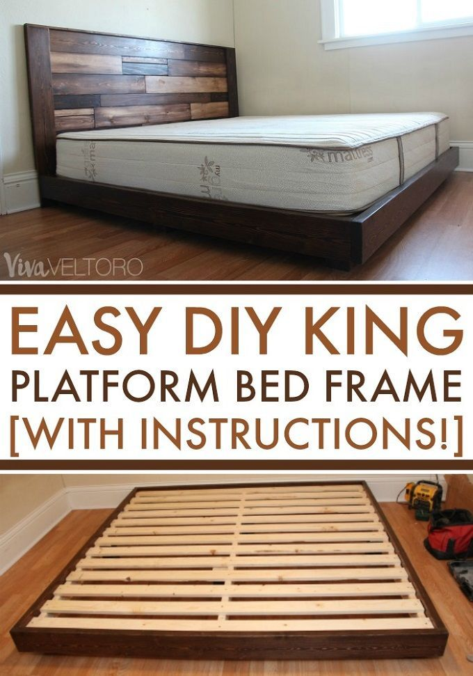 Easy DIY platform bed frame for a king bed for less than $100 ...