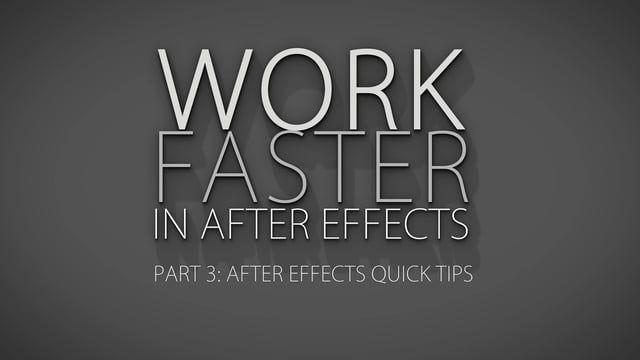In part 3 of working faster in after effects series i'll show you