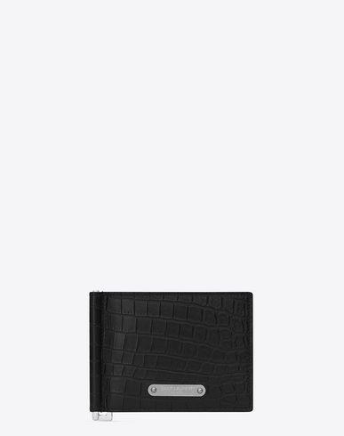 Saint Laurent Id Bill Clip Wallet In Black Crocodile Embossed Leather Saintlaurent Clip Wallet Saint Laurent Wallet