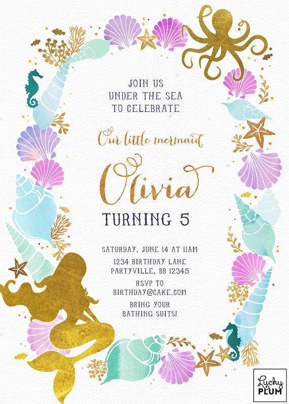 Mermaid Birthday Invitation Little Mermaid Invitation Under the