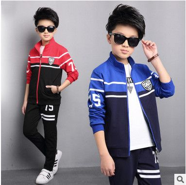 Retail children's sports suit boys and girls 3-14 years old children big  virgin suit uniforms Spring clothes Jacket + T…   Spring outfits, Outfit  sets, Kids outfits