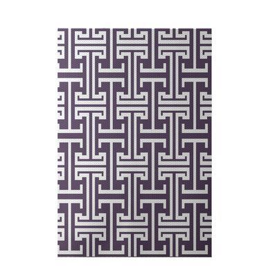 e by design Greek Isles Geometric Print Larkspur Indoor/Outdoor Area Rug Rug Size: 2' x 3'