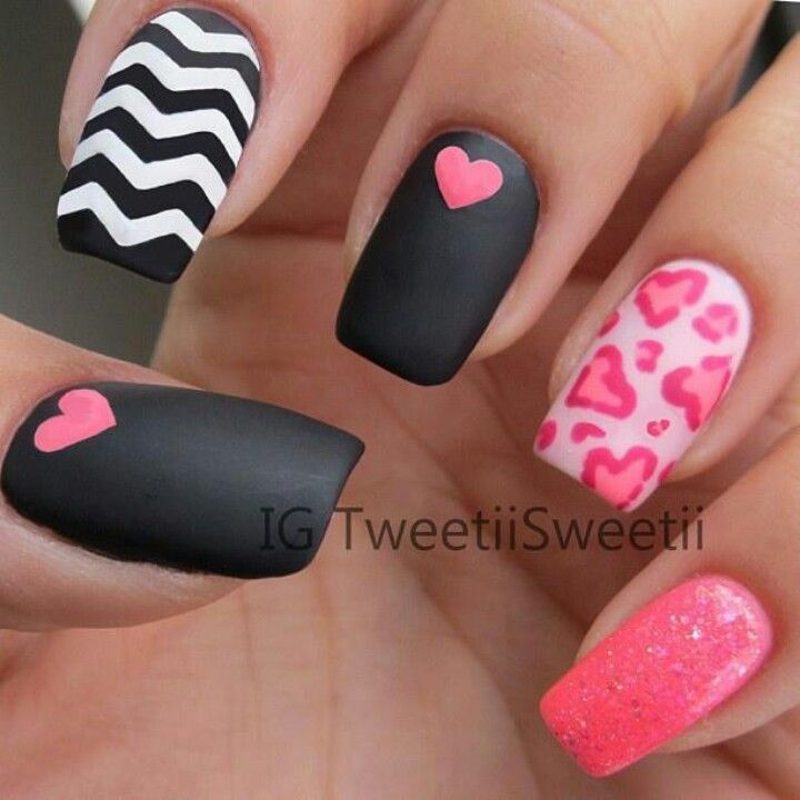Black matte with pink heart and pink leopard print   Nails ...