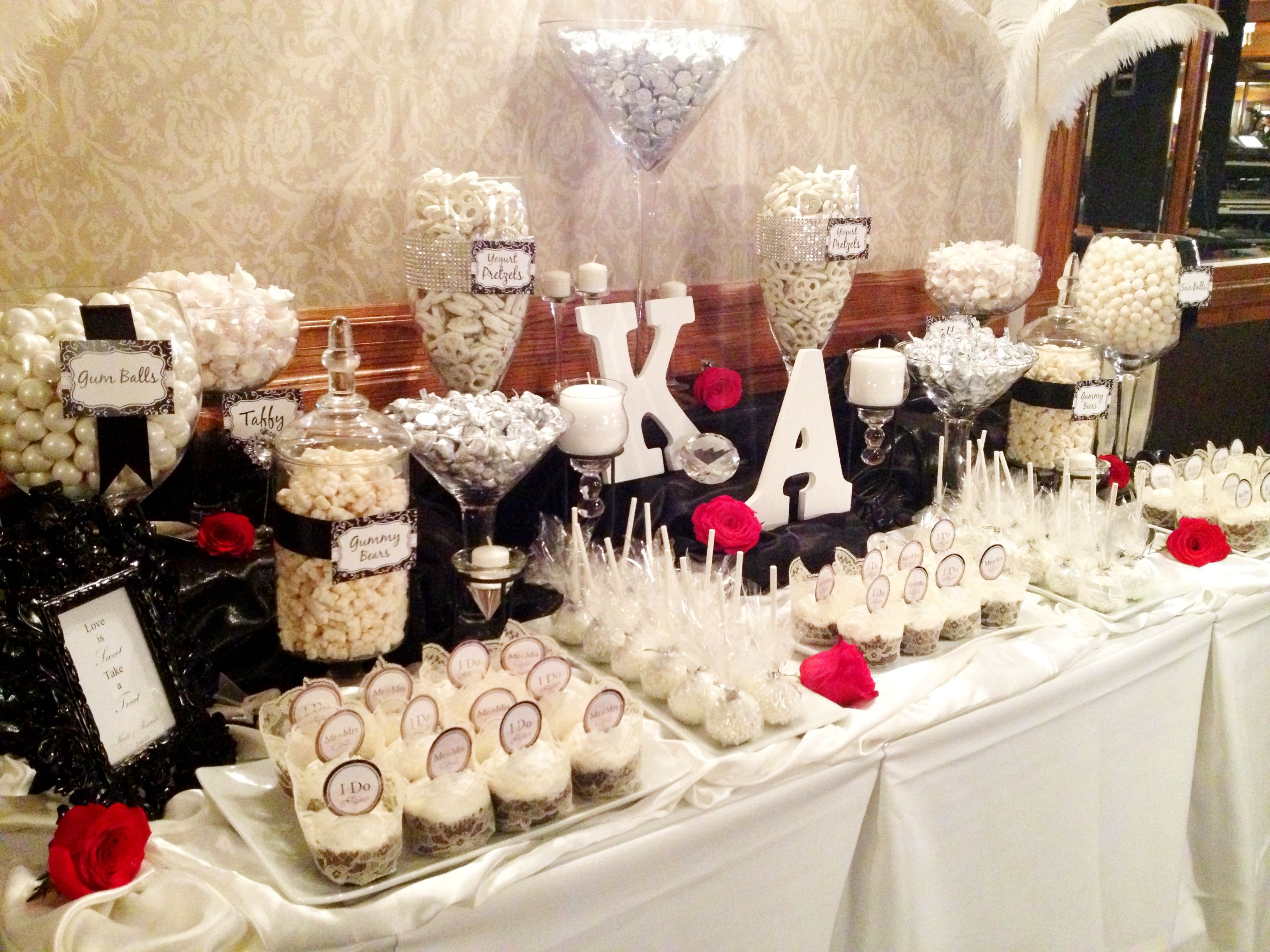 Pin By Sweet Tooth Candy Buffets On White Black Wedding Candy Buffet Wedding Candy Buffet Tables White Candy Buffet