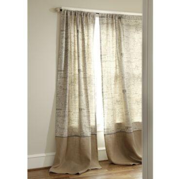 Vintage French Script Fabric Burlap Curtains Diy Paris Bedding