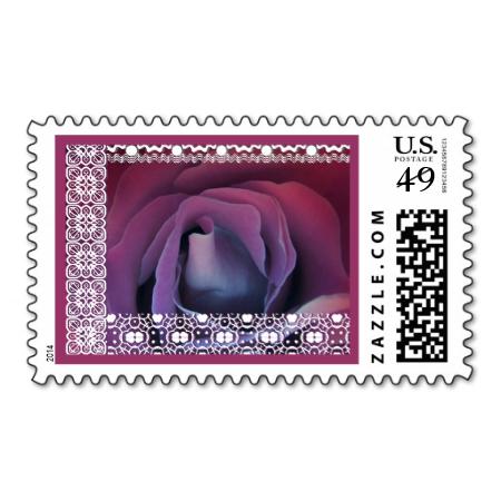 Purple Pink Rose Dreams Wedding Stamp