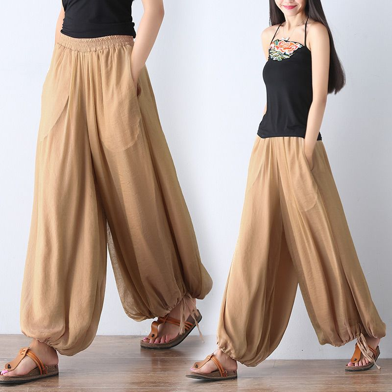 f5eebf9f2e Mori girl literary vintage palazzo pants women casual loose silk bloomers wide  leg pants pantalon femme