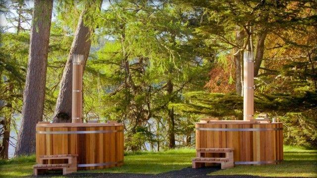 Badetonne Garten montieren Holz Treppe Whirlpool | Hot Tub ...