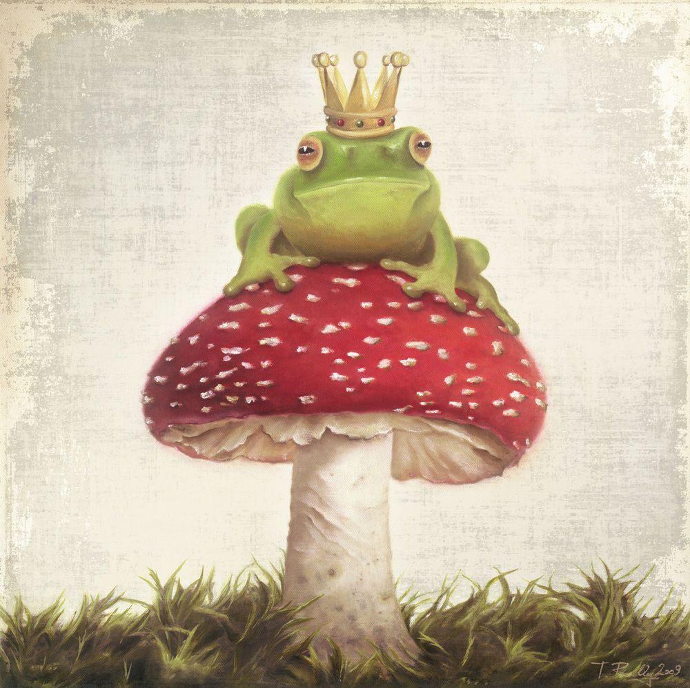 Xl Kinder Bild Frosch Konig Grun Froschkonig Krone Pilz Rot Shabby Thomas Rolly Frog Illustration Frog Art Frog Pictures