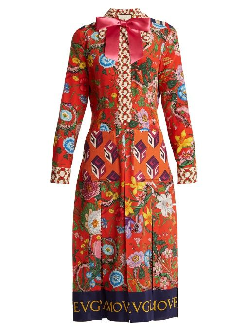 0ebc0be88de870 Gucci Floral patchwork-print silk crepe de Chine dress