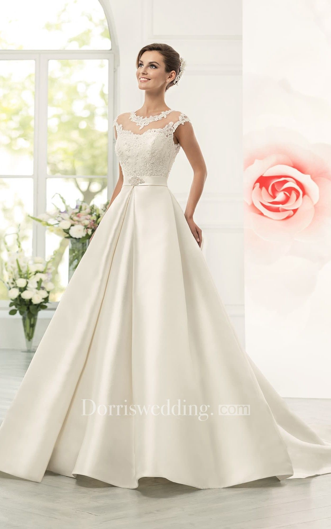 70d5d102b Jeweled Neck Cap Sleeve A-line Satin Wedding Dress With Lace Bodice ...