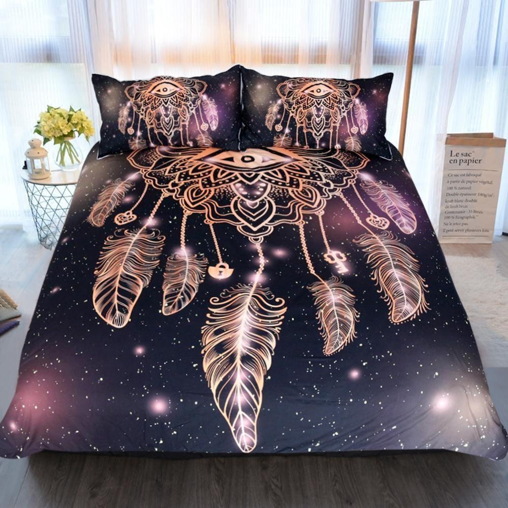 Evil Eye Dream Catcher Bedding Set With Images Purple Bedding