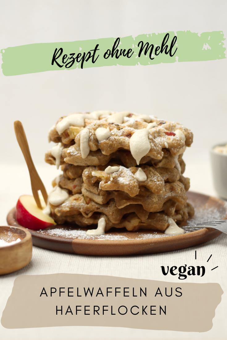 Vegane Apfelwaffeln aus Haferflocken | Rezept ohne Mehl • purelimon