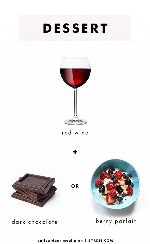 Antioxidant Meal Plan  -  Last but not least, treat yourself to one portion-controlled glass of red wine andsome dark chocolate—both of which have high amounts of cancer-fighting polyphenols—or a berry...