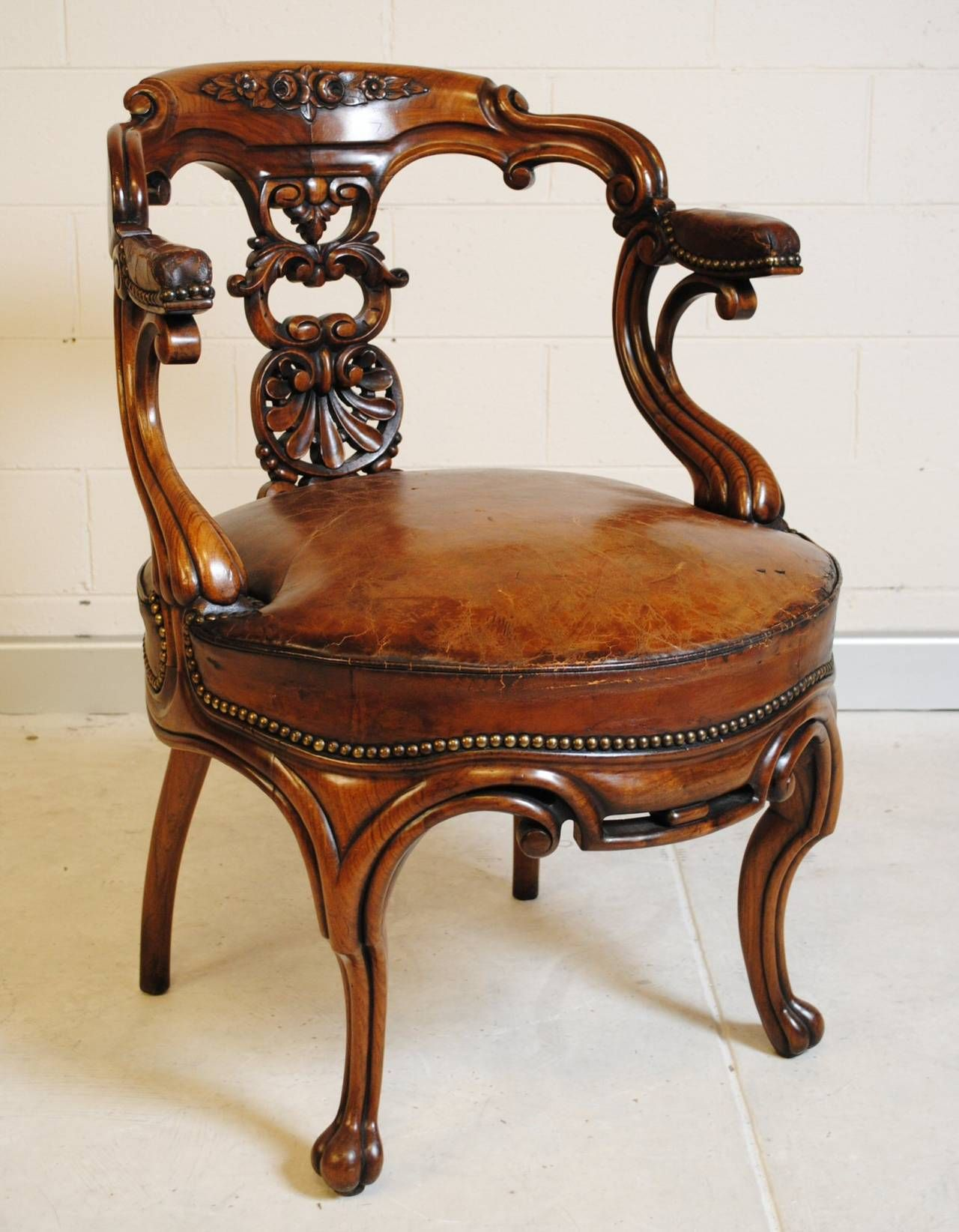 French Antique Rosewood Desk Chair with Leather Seat image