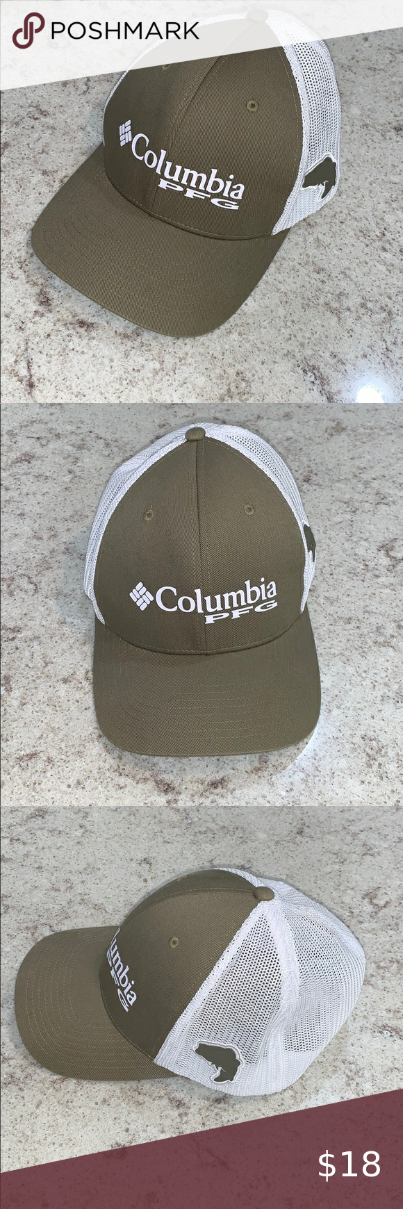 Columbia Pfg Olive Green Hat With Mesh Unisex L Xl Olive Green Hat Columbia Pfg Olive Green