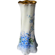 Pretty Hat Pin Holder with Hand Painted Forget-Me-Not Flowers  Signed