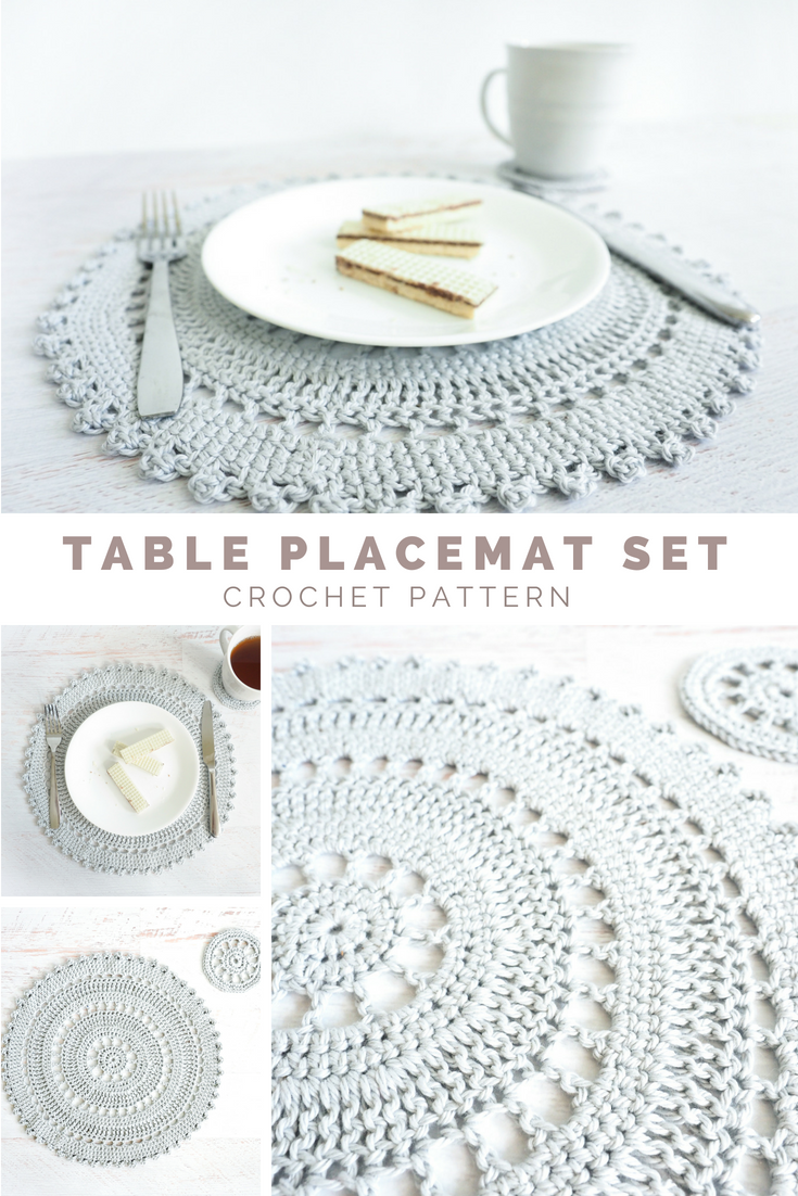 The Table Placement Set Includes An Intricate Crocheted Placemat And Coaster Pattern These Deli Crochet Placemat Patterns Placemats Patterns Crochet Placemats