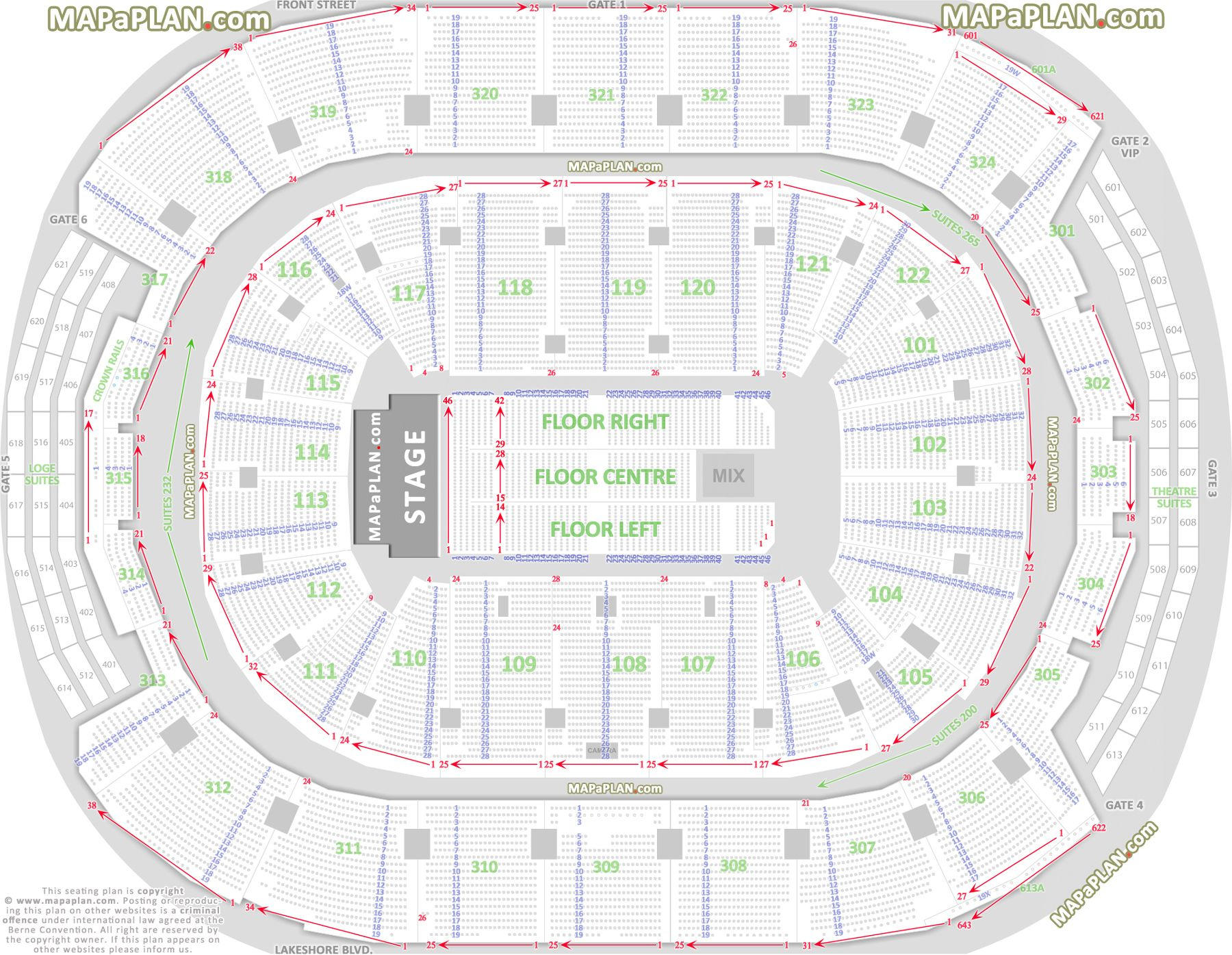 Toronto Air Canada Centre Detailed seat & row numbers